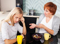 Conflict between mother and daughter quarrel Stock Photo