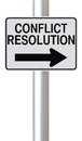 Conflict resolution a modified one way street sign indicating Royalty Free Stock Image