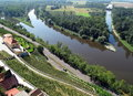 Confluence of rivers Elbe and Vltava Royalty Free Stock Photo