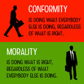 Conformity and morality difference between doing what is right doing what everybody else is doing Royalty Free Stock Photos