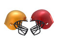 Confront football helmets d isolated Stock Photos