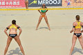 Confrontation a female player indicating that she will block line in a beach volleyball game photo taken october a women s fivb Royalty Free Stock Photography