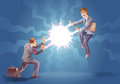Confrontation two businessman are fighting using their super abilities Stock Photo