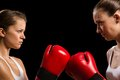 Confrontation between the two women boxers Royalty Free Stock Photography