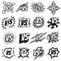 Confrontation versus vector signs. Vs opposite isolated logo set