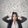 Confused asian business woman photo compilation with hand drawn background Stock Photos