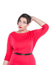 Confused beautiful plus size woman scratching her head isolated on white background Royalty Free Stock Images