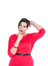 Confused beautiful plus size woman scratching her head isolated on white background Stock Photos