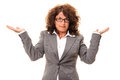Confused business woman or sorry no idea Royalty Free Stock Photography