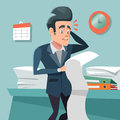 Confused Businessman with Long To Do List. Overtime at Work