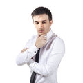 Confused businessman on white background Royalty Free Stock Photos