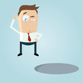 Confused cartoon character stands scratching his head big hole Royalty Free Stock Photography