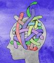 Confused mind concept illustration