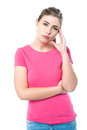 Confused pretty teenager thinking hard sad expression by casual young girl Royalty Free Stock Photos