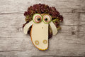 Confused sheep made of cheese and bread Royalty Free Stock Photo