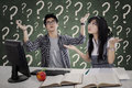 Confused students having questions many for solution Stock Photography