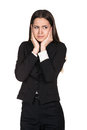 Confused woman puts her hands on the head isolated on white Royalty Free Stock Photos