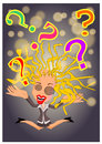 Confused woman riddles illustration Stock Photo