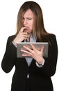 Confused Woman with Tablet Stock Photo