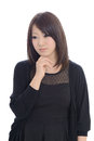 Confused young asian woman businesswoman with hand Royalty Free Stock Image