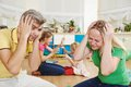 Confusion in children breeding parent state of bad manners behaviour Royalty Free Stock Image