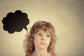 Confusion confused child with paper cloud Stock Photos