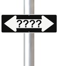 Confusion a modified one way sign on decision making Royalty Free Stock Photo