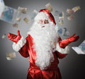 Confusion of a santa claus and falling euro lottery concept Royalty Free Stock Image