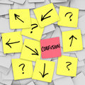 Confusion - Sticky Notes Royalty Free Stock Images