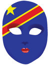 Congo mask classic with symbols of statehood of vector illustration Royalty Free Stock Photography
