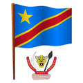 Congo wavy flag democratic republic of the and coat of arms against white background vector art illustration image contains Stock Photography