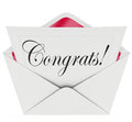 Congrats note open letter card envelope congratulations word on a or coming out of an to illustrate a message of on an achievement Royalty Free Stock Images