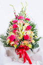 Congratulate vase colorful flowers in the for Royalty Free Stock Photos