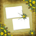 Congratulation with paper and yellow flowers Royalty Free Stock Photo