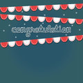Congratulation party white and red ribbon on dark blue background with text and stars look like sky Stock Photo