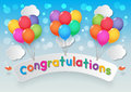 Congratulations balloons paper sign cloud and birds on sunny sky background Royalty Free Stock Photos