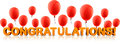 Congratulations banner with red balloons. Royalty Free Stock Photo