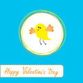 Congratulations card with cute yellow bird happy valentines day vector illustration Stock Photos
