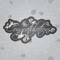 Congratulations card. Floral swirls on seamless leaves pattern Royalty Free Stock Photo