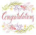 Congratulations card with flowers and calligraphy design Stock Photography