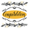 Congratulations card with forest herbs and calligr calligraphy Stock Images