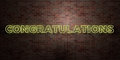 CONGRATULATIONS - fluorescent Neon tube Sign on brickwork - Front view - 3D rendered royalty free stock picture