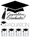 Congratulations graduates cap illustration of a graduation with tassle and the headlines graduation and graphics for the years and Stock Image
