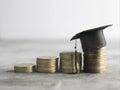 congratulations graduates on top of the money scholarship money Royalty Free Stock Photo