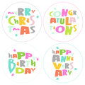 Congratulations lettering on white background vec merry christmas happy birthday and aniversary colorful vector Stock Image