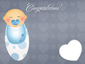 Congratulations for newborn illustration of baby child with pacifier Royalty Free Stock Photo