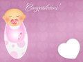 Congratulations for newborn illustration of baby child with pacifier Royalty Free Stock Photography