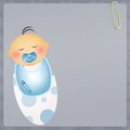 Congratulations for newborn illustration of baby child with pacifier Stock Image
