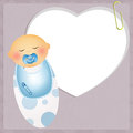 Congratulations for newborn illustration of baby child with pacifier Stock Photography