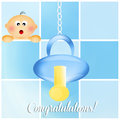 Congratulations for newborn illustration of pacifier baby Stock Photography